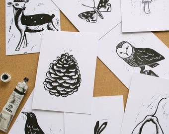 A Walk in the Woods set of 8 lino prints