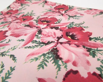 Vintage Gift Wrap - Vintage Wrapping Paper - Pink Flowers - Daffodils - Orchids - Mid Century