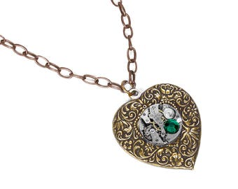 Steampunk Jewelry Necklace Brass Silver Watch HEART EMERALD Crystal MAY Wedding Anniversary Girlfriend Fiancee Bride - Jewelry by edmdesigns