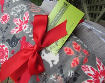 2 Swaddler Baby Blankets, Swaddling LARGE duo 1 Flannel, 1  Gauze - Woodland Fox, Deer, and Gray Gauze - newborn, toddler, baby shower gift