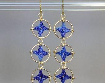Spangles, blue silk earrings, 14K gold-filled