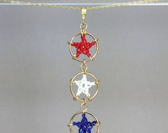 Stars, red white and blue silk necklace, 14K gold-filled