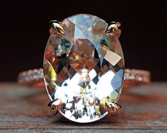 """Oval Morganite Engagement Ring - 12x16mm Oval """"Beverly"""" Ring with natural hand set diamonds - by Laurie Sarah - LS5091"""