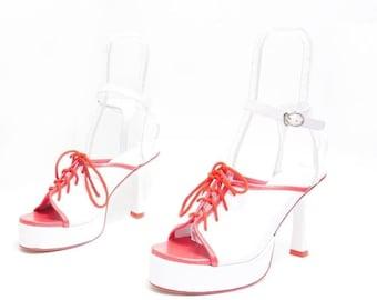 Summer Sale Size 8// Vintage Costume Shoes  High Heel Platform Shoes//  Lace up Slingbacks// 114