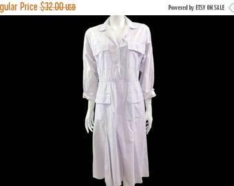 Summer Sale Vintage Impromptu Dress// 80s White Stripes Cotton Dress//  Retro Casual Shirt Dress // Size 11 -12// 136