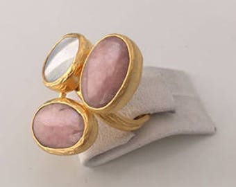 Triple Gold plate Pink Opal, Mother of the pearl ring