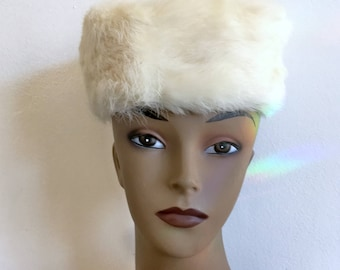 White Fur Pillbox Hat Vintage Rabbit Fur Hat Size S