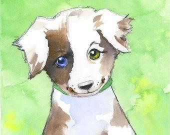 Puppy Dog Art Print - Children's Dog Nursery Art - Dog Wall Decor - Puppy Wall Art - Year of the Dog