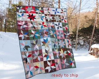 Vintage LeMoyne Star Quilt Antique Vintage Rescue Quilt Twin to Queen Size Hand Sewn Star Patch Handmade Vintage Quilt Blue White Red Pink