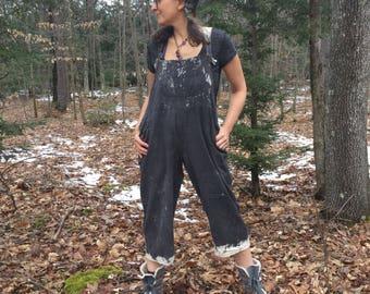 Dipped Bib Rompers - XS-L - petite - short - Black Bib Overalls, cropped leg romper, loose cotton bib overalls, baggy bibs, cotton overalls