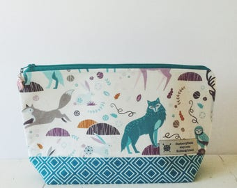 Winterland project bag/ knitting project bag/ craft bag / cosmetics bag / multi-purpose bag