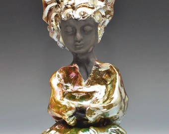 Goddess Kwan Yin Angel Buddha Sculpture With Golden Hair in Raku Ceramics by Anita Feng