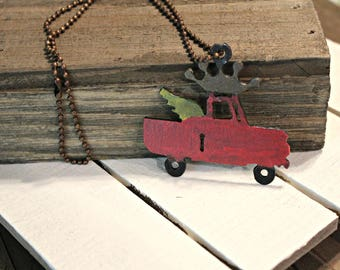 Truck necklace - rusty truck pendant - pink truck with crown and wings
