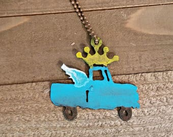 Truck necklace - winged truck with crown necklace - recycled junk metal pendant - gypsy jewelry