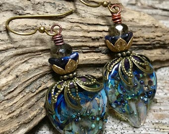 GEORGIA BLUE - Handmade Lampwork, Antiqued Brass, Glass Flower and Faceted Glass Beads