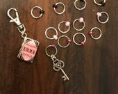 Emma Stitch Marker Set, ring markers, knitting supplies, notions, stitchmarkers, knitter gift, Jane Austin, progress keeper, clip on charm
