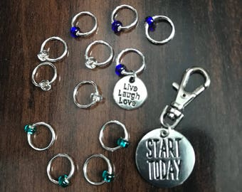 Start Today Stitch Marker Set, ring markers, knitting supplies, notions, stitchmarkers, knitter gift, progress keeper, clip on charm