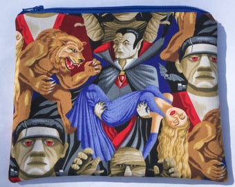 Horror Movie Monsters Zipper Pouch: Frankenstein, Werewolf, Dracula.