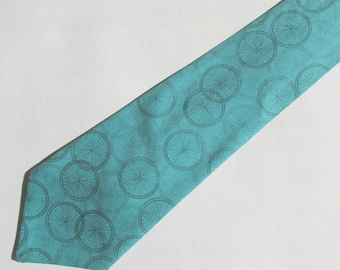 Bicycle Tires on Turquoise  Necktie with Free Gift Box, Bicycle Tie, Bicycling Necktie, Bicycling Tie, Teacher Gift, Male Teacher Gift