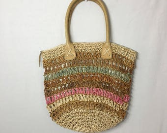 Mulit-colored Woven Straw Market Bag Purse Straw Bag Leather Handled Boho Purse Crochet Shoulder Bag Vintage