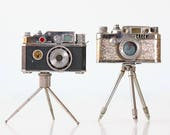 Vintage Camera Lighters, Miniature Tripod Camera Lighters, Set of 2