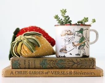 Vintage Enamel Cup, Germany, Nursery Rhyme, Cat, Bee, Mushroom, Enamelware