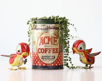 Vintage Acme Coffee Tin, Red and White Polka Dot