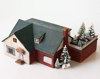 Vintage Wooden House, Red and Green Primitive Old House, Christmas