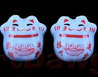 4 Porcelain Maneki Neko, or Beckoning Cat Porcelain Beads - Lucky Cat