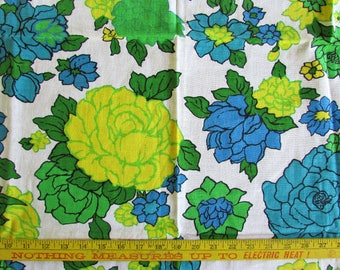 "40s Vintage FEEDSACK Fabric 1940s Bold Floral Print Quilting Craft Sewing Material 36""x42"
