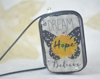 DREAM Hope BELIEVE Altoids Upcycled Locket - Necklace