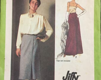 Uncut Vintage Misses' Jiffy Front Wrap Skirts Sewing Pattern Simplicity 9113 Size 12 Waist 26 inches Complete