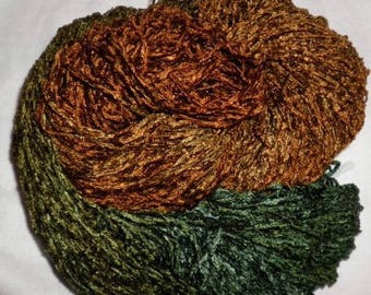 Handpainted Soft Rayon Chenille Yarn  OLIVE OIL  -  360 yds