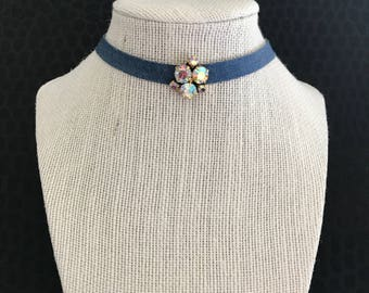 Blue jean choker with vintage aurora borealis rhinestone centerpiece - Found Object Assemblage Necklace, OOAK, repurposed, wide, OOAK,
