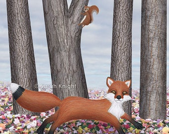 fox and squirrel - art print 8X10 inches by Sarah Knight, nature scene leaf litter trees animals neutral tones