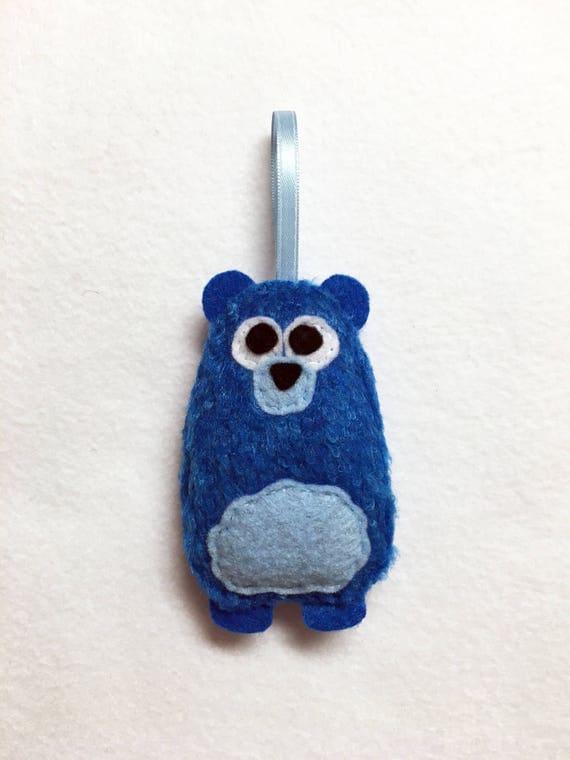 Bear Ornament, Christmas Ornament, Fuzzy Wuzzy the Bear, Felt Ornament, Forest Animal, Woodland Decoration, Limited Edition