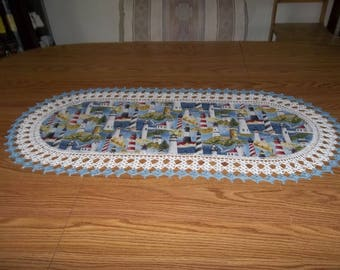 Lighthouse Table Runner Best Doilies Crochet Fabric Table Runner Crocheted Edge Centerpiece Table Topper Table Cloth Dresser Scarf