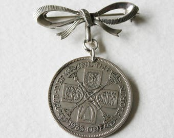 Sterling Silver Lucky Florin Bow Brooch 1933 Genuine English George V Coin