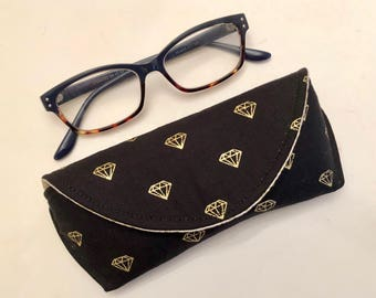 Eyeglass Case - Sunglass Case - Magnetic Clasp - Gifts for Her - Gifts for Readers - Black - Gold - Diamonds