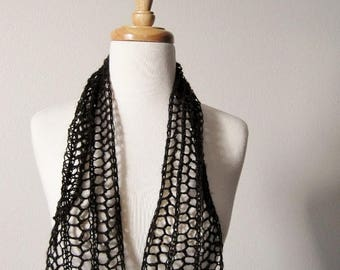 First Fall Sale - 15% Off Black Sequinned Hand Knit Scarflette / Mini Scarf / Alice Band Headwrap - Black Wool and Mohair Blend with Sparkle