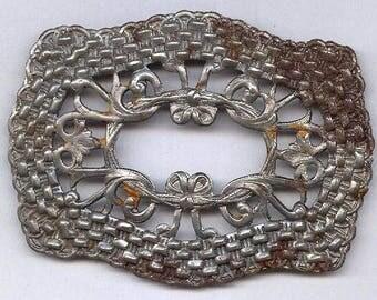 "vintage fancy STEEL STAMPING antique art nouveau design RUST oldness old steel ornate stamping large 2-1/2"" x 2"""