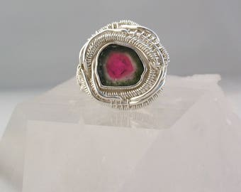 Watermelon Tourmaline Ring Wire Wrapped Ring Watermelon Heady Wire Wrap Tourmaline Slice Tourmaline Crystal Sterling Silver Ring Size 6