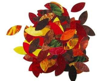 Applique leaf tinies, BULK PACK, diy, 100 autumn leaves,  Iron on, diecut, TEMPORARILY Fused 100% premium cotton fabric, Precision die cut