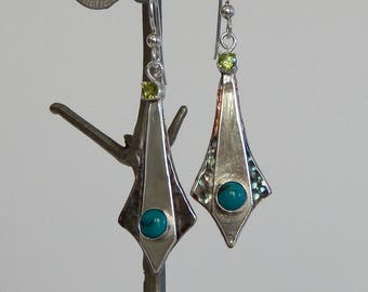 Turquoise Earrings Sterling Silver Dangle Earrings Turquoise Jewelry Handmade Earrings Gift For Her Silver Earrings Gemstone Earrings