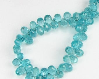 SHOP SALE Gorgeous Bright Teal Micro Faceted Apatite Teardrop Briolettes 6mm - 7mm (3 beads)