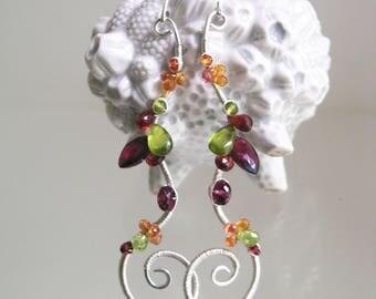 Long Linear Sterling Multi Gemstone Earrings, Curvy Spiral Silver Dangles with Sapphire, Peridot, Garnet, and Vesuvianite