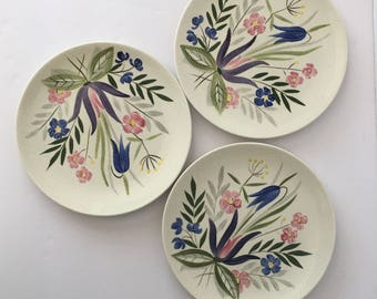 Redwing Country Garden Salad Plates 7 7/8 Inch Lunch Plate 1950s Handpainted 283 Set of Three Bluebell Floral Pastel
