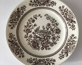 Royal China Replacement Bread and Butter Plate in Sussex Pattern Beautiful Brown Botanical Anthropologie Style Cavalier Ironstone