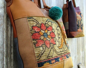 Leather Patchwork Carpetbag Tote with Shoulder Strap in Tan - Blue - and Brown by Stacy Leigh