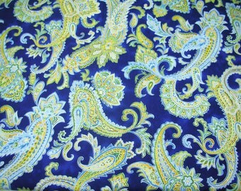 Gypsy Princess by Hoffman Fabrics S/F 9010, french country fabric, blue and yellow fabric, paisley fabric